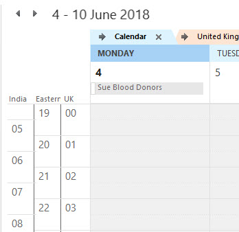 how to add third time zone in outlook calendar
